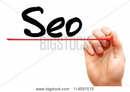 Hand Writing Seo (search Engine Optimization), Business Concept