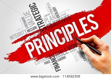 Principles word cloud business concept, presentation background