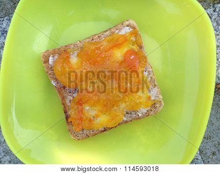 Toast with kumquat jam