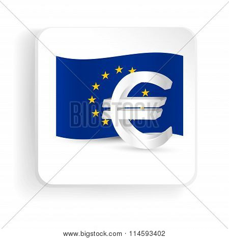 Euro Symbol With Eu Flag - Finance Sign Icon. Vector Illustration.