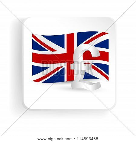 Pound Symbol With Uk Flag - Finance Sign Icon. Vector Illustration.