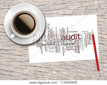 Coffee, Pencil And A Note Contain Word Clouds Of Audit And Its Related Words