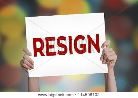 Resign Card With Bokeh Background