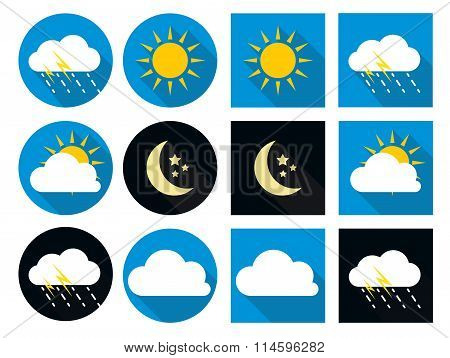 Weather Icons with Sun, Cloud, Rain and Moon in Flat Style