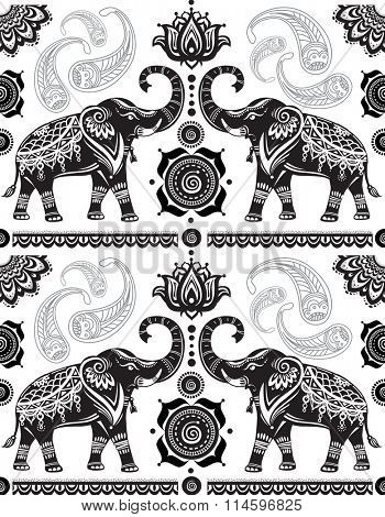 Seamless pattern with decorated elephants