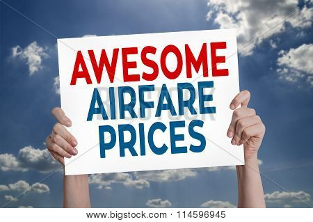 Awesome Airfare Prices Card With Cloud Background