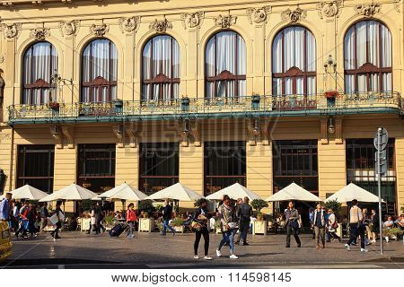 Tourists Walk Near The Municipal House, Art Nouveau Building, Theater And Opera House, Prague, Czech