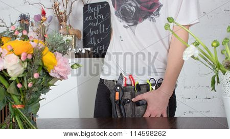 Close View Of Florist's Belt With Tools