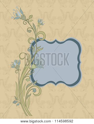 Vintage invitation card with ornate elegant retro abstract floral design, light blue and cadet gray flowers and light green leaves on pale yellow background. Vector illustration.