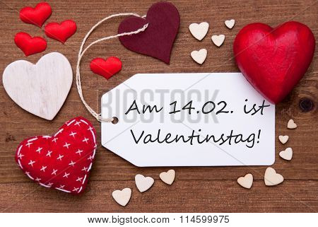 Label With Red Hearts, Valentinstag Mean Valentines Day