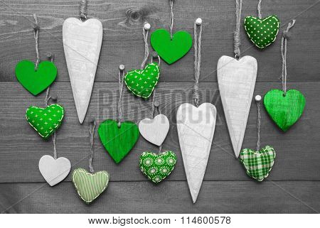 Green Hearts For Valentines Daecoration, Black And White Image