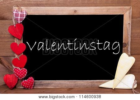 One Chalkbord, Red And Yellow Hearts, Valentinstag Mean Valentines Day