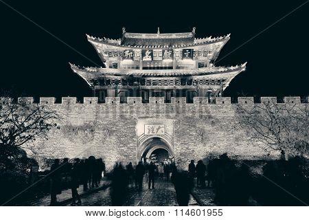 South gate of Dali Town at night, Yunnan, China