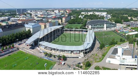 Aerial image of the sports arenas of Helsinki, Finland.