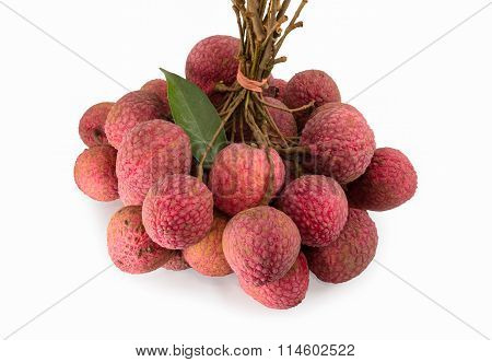 close up fresh litchies on white background