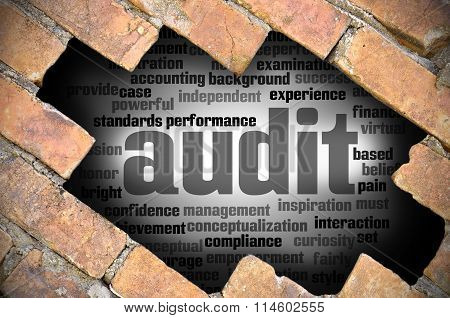 Hole At The Brick Wall With Audit Word Cloud Inside