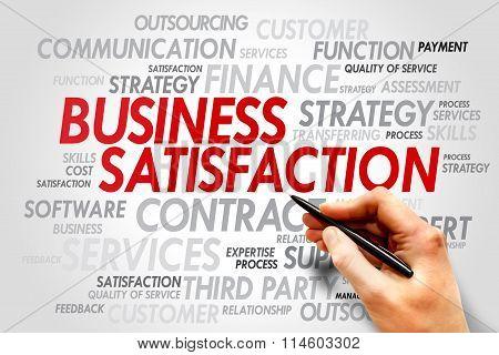 Business satisfaction words cloud concept, presentation background