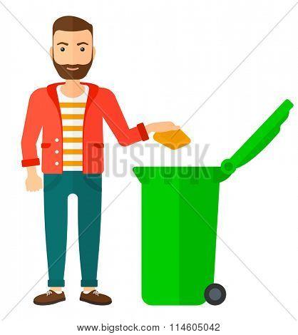 Man throwing trash.