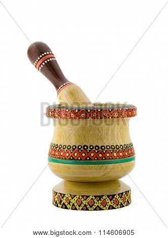 Artistic Painted Mortar And Pestle