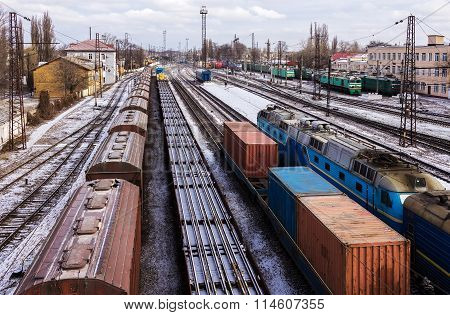 Freight Trains With Carriages At The Station. Top View