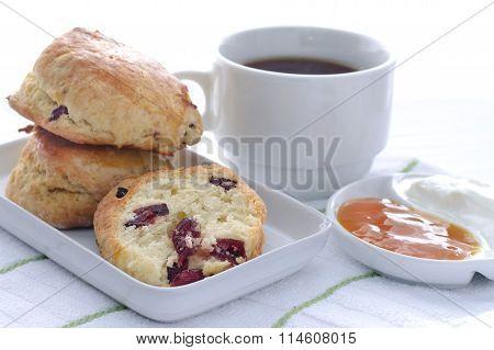 Cranberry Scones With Coffee Jam And Sour Cream