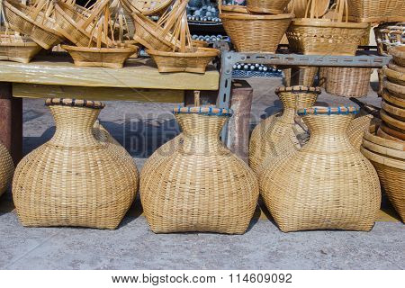 Fish creel made from bamboo in a market