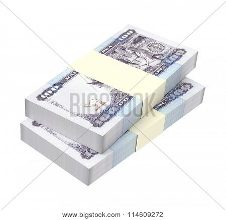 Eritrean nakfa bills isolated on white background. Computer generated 3D photo rendering.