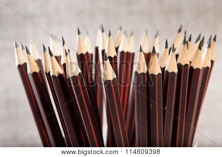 Set Of The Identical Simple Sharply Ground Pencils