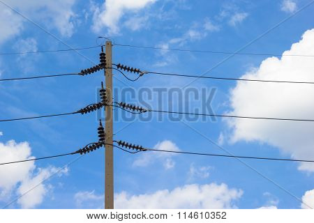 high voltage equipment on an electric pole