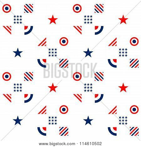 Fourth of July -Independence Day. American seamless pattern in traditional red, blue and white color