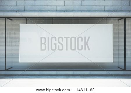 Large Blank Banner In A Shop Window, Mock Up