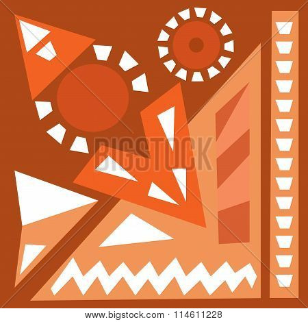 Hand Draw Acrylic Painting Composition. Bright Background. Ethnic African Or Mexican Motive.