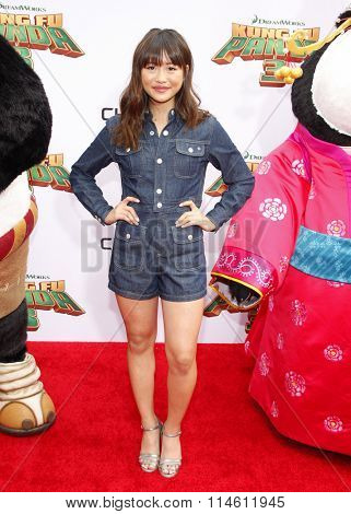 Haley Tju at the Los Angeles premiere of  'Kung Fu Panda 3' held at the TCL Chinese Theater in Hollywood, USA on January 16, 2016.