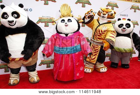 Po, Mei Mei, Tigress and Bao at the Los Angeles premiere of  'Kung Fu Panda 3' held at the TCL Chinese Theater in Hollywood, USA on January 16, 2016.