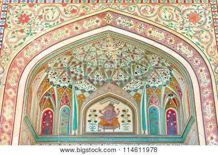 JAIPUR, INDIA - MARCH 08: Interior mughal architectural details of Amber Fort, March 08, 2015