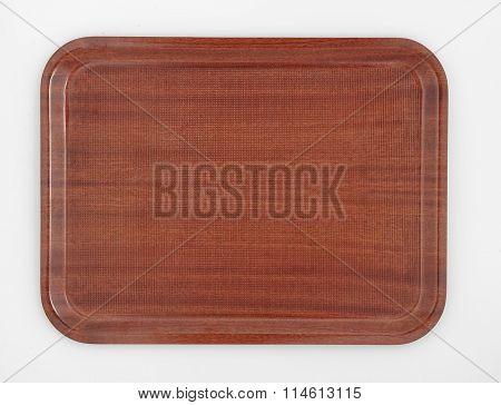 brown rectangular plastic tray top view