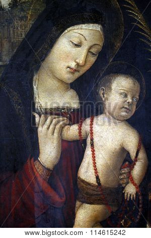 ZAGREB, CROATIA - DECEMBER 12: Follower of Bernardin Pinturicchi: Madonna and Child, exhibited at the Great Masters renesnse in Croatia, opened December 12, 2011. in Zagreb, Croatia