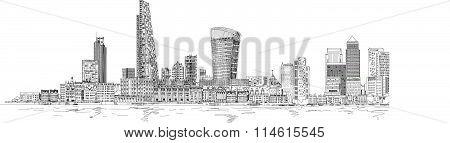 City of London sketch illustration. Business background