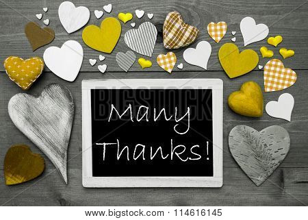 Black And White Chalkbord, Yellow Hearts, Many Thanks
