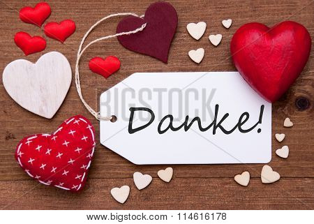 Label With Red Hearts, Danke Mean Thank  You