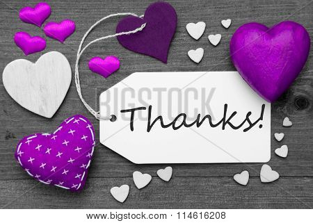 Black And White Label, Purple Hearts, Text Thanks