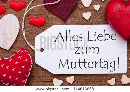 One Label, Red Hearts, Muttertag Means Mothers Day, Macro