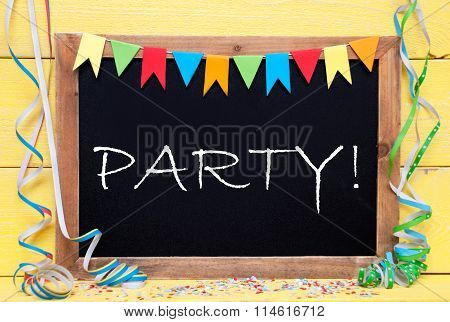 Chalkboard With Decoration, Text Party
