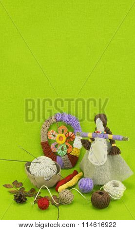 A vertical green template of the handmade doll