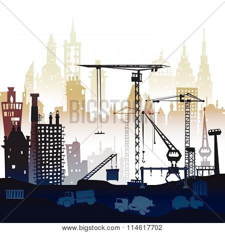 Industrial site view with cranes. Heavy industry concept