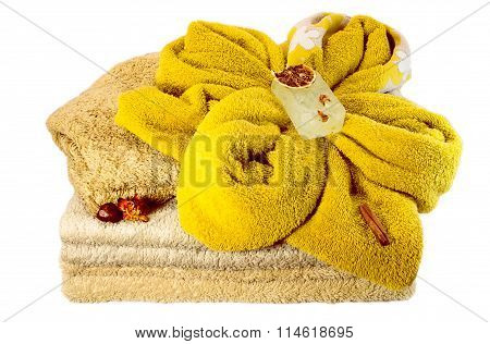 Composition Of Accessories For Spa And Sauna Isolated On White Background