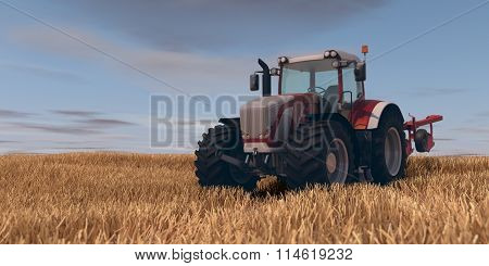 red general tractor with plow