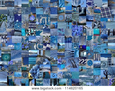 BLUE patchwork photo montage background