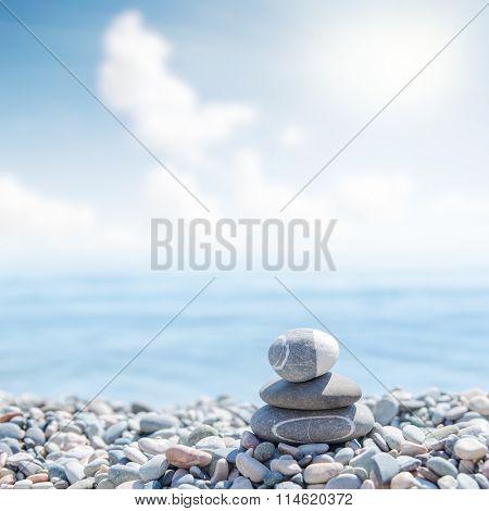 zen like stones on beach. soft focus