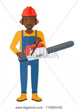 Cheerful lumberjack with chainsaw.